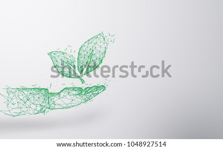 Abstract Plant on hand form lines and triangles, point connecting network background. Ecology concept