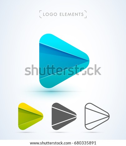 Abstract Play button logo in material design style. Application icon