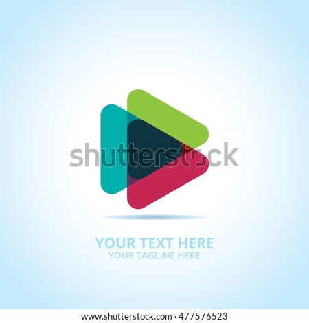 Abstract play logo, design concept, emblem, icon, flat logotype element for template.