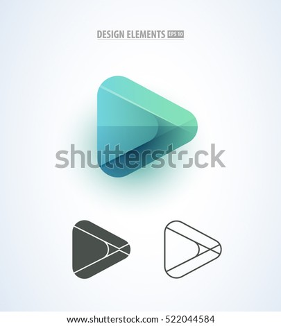 Abstract Play logo sign set for corporate identity design. Multimedia application icon
