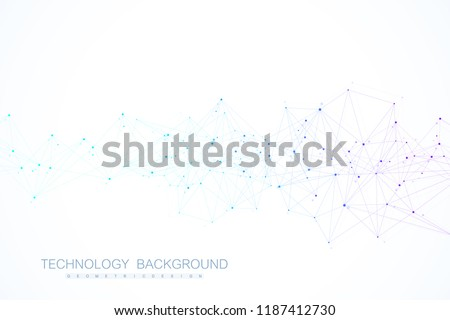 Abstract plexus background with connected lines and dots. Wave flow. Plexus geometric effect Big data with compounds. Lines plexus, minimal array. Digital data visualization. Vector illustration. 商業照片 ©