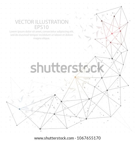 Abstract point, line and composition digitally drawn in the form of broken a part triangle shape and scattered dots low poly wire frame on white background.