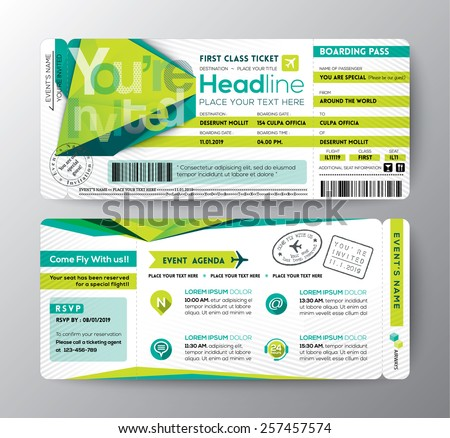 Free Airline Ticket Boarding Pass Vector Download Free Vector – Boarding Pass Template