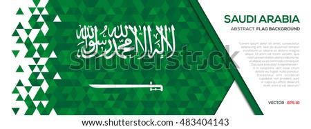 Abstract polygon Geometric Shape background.Saudi Arabia flag