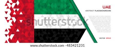 Abstract polygon Geometric Shape background.United Arab Emirates flag