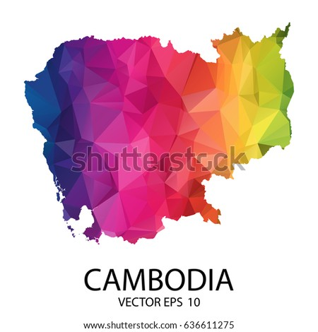 Abstract Polygon Map - Vector illustration Low Poly Color Rainbow Cambodia map of isolated. Vector Illustration eps10.