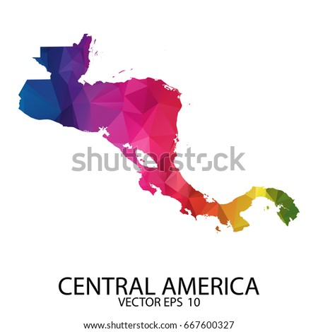 Abstract Polygon Map - Vector illustration Low Poly Color Rainbow Central America map of isolated. Vector Eps 10