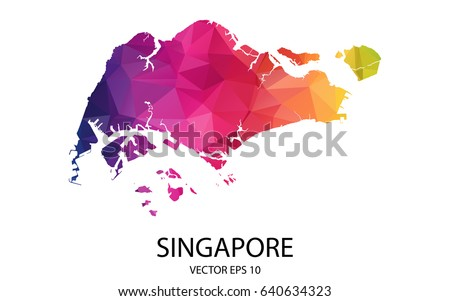Abstract Polygon Map - Vector illustration Low Poly Color Rainbow Singapore map of isolated. Vector Eps 10.
