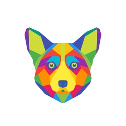 Abstract polygon vector dog. Geometric isolated colorful head Welsh Corgi.  Symbol 2018 year.