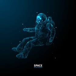 Abstract polygonal astronaut in outer space. Blue low poly wireframe cosmos vector illustration on dark technology background. Starry sky, polygons, lines, particles and connected dots. UFO concept.