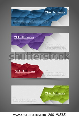 abstract polygonal banners with flat shadows effect