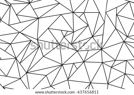 Abstract polygonal black and white background flat vector stock illustration