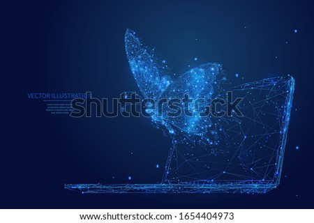 Abstract polygonal butterfly flies out display of laptop. Blue low poly wireframe digital vector illustration. Freedom and faster internet connection concept. Polygons, particles and connected dots.
