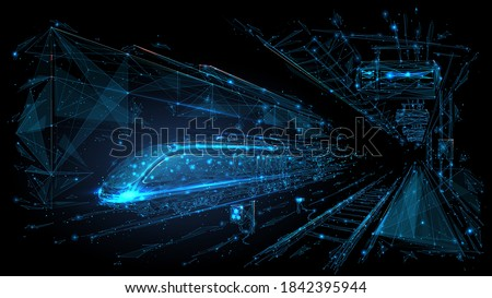 Abstract polygonal 3d wireframe of modern train at railway station or metro. Digital vector mesh looks like starry sky. Rapid transit system, transportation, railway logistics concept in dark blue