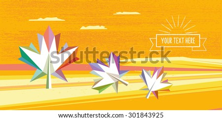 abstract polygonal fall landscape with text ribbon and leaf