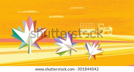 abstract polygonal fall landscape with tractor and colorful leaf