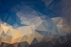 Abstract Polygonal From Blue Sky And Cloud Shaped Like a Bird With Outstretched Wings Background. Vector Illustration