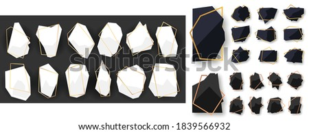 Abstract polygonal geometric black with rose gold line frame set