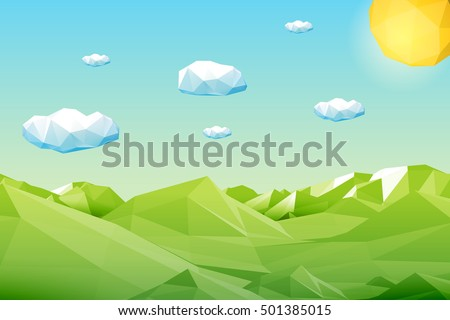 Abstract polygonal green landscape with mountains, hills, clouds and sun. Modern geometric vector illustration.