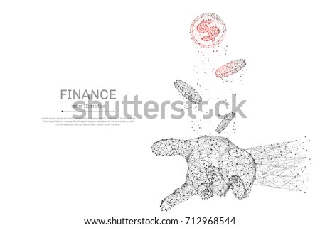 Abstract polygonal hand tosses coins isolated on white background. Low poly wireframe vector illustration. Business and finance digital concept mash line and point with destruct shapes. - Shutterstock ID 712968544