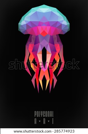 Abstract polygonal jellyfish. low poly illustration. Creative poster