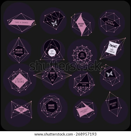 abstract polygonal label design....