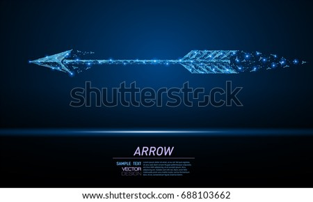 Abstract polygonal light arrow sign. Business wireframe mesh spheres from flying debris. Achieving the goal concept. Blue structure style vector illustration.