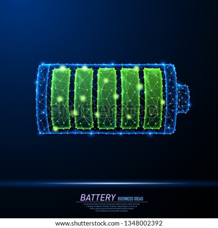 Abstract polygonal light design of battery charging icon. Business wireframe mesh spheres from flying debris. Charging nergy sign concept. Blue structure style vector illustration. Photo stock ©