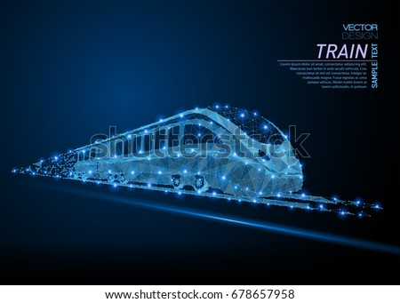 Abstract polygonal light high-speed commuter passenger train. Business wireframe mesh spheres from flying debris. Traveling concept. Blue structure style vector illustration.