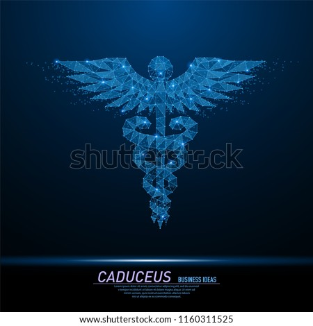 Abstract polygonal light of Caduceus health symbol. Business wireframe mesh spheres from flying debris. Medical concept. Blue structure style vector illustration with geometry triangles.