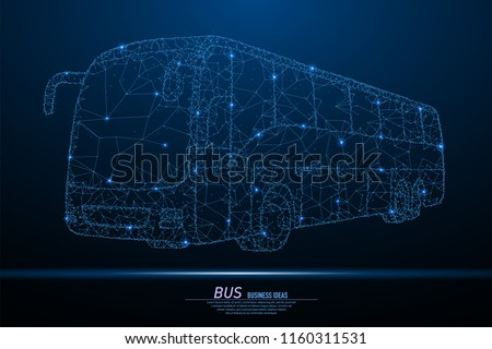 Abstract polygonal light of City bus. Business wireframe mesh spheres from flying debris. Travel or transportation concept. Blue structure style raster illustration with geometry triangles.