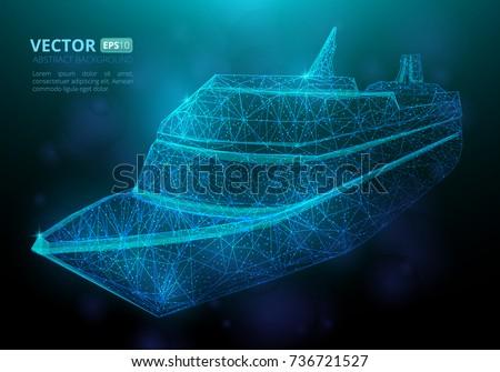abstract polygonal marine ship