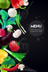 Abstract polygonal Menu template. Geometric triangle design. Colorful vector vegetables illustration