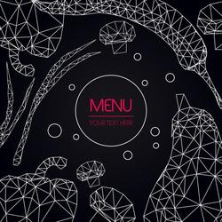 Abstract polygonal Menu template set. Geometric triangle design. White line on black background, vector vegetables illustration