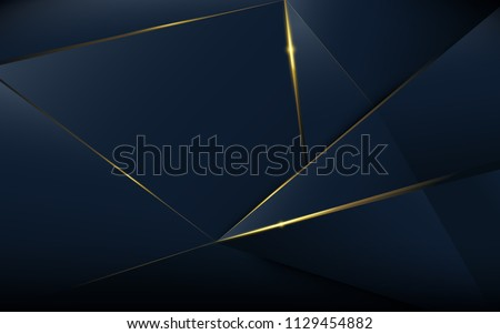 Stock Photo Abstract polygonal pattern luxury dark blue with gold