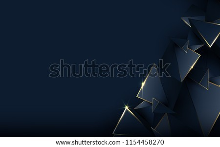 Stock Photo Abstract polygonal pattern luxury dark blue with gold background