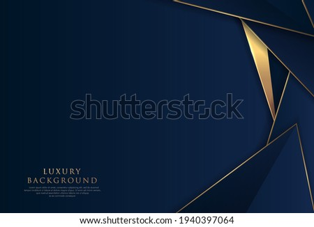 Abstract polygonal pattern luxury golden line with dark navy blue template background. Luxury and elegant. Style poster, cover, artwork, banner. Vector illustration