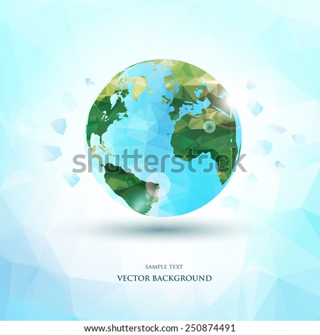 abstract polygonal planet earth