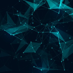 Abstract polygonal space low poly dark background with connecting dots and lines.  Connection structure. Vector science background. Polygonal vector background. Futuristic HUD background.