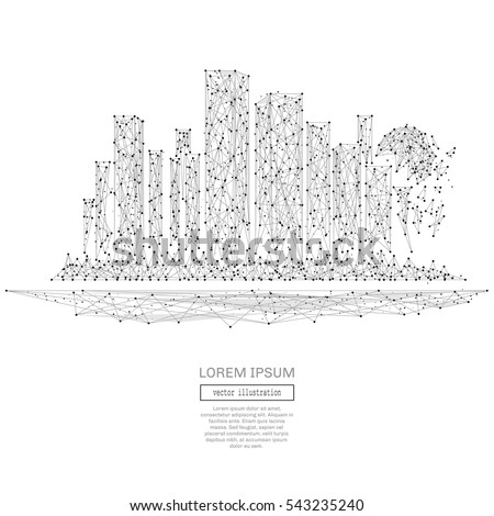 Abstract polygonal space low poly Megalopolis with connecting dots and lines. Wireframe big city connection structure. Futuristic Vector Illustration.