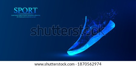 Abstract, polygonal, sports shoes. Fashionable modern design. The concept of sports shoes. Blue outline polygonal style, vector illustration.	 Foto stock ©