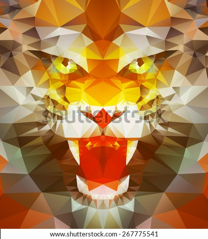 abstract polygonal tiger