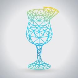 Abstract polygonal tirangle cocktail blue hawaii. Hipster cocktail menu