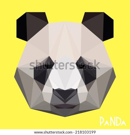 Abstract polygonal triangle graphic panda portrait. Vector panda icon for use in design card, invitation, banner, book, scrapbook, album etc.