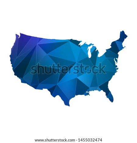 Abstract polygonal United States of America map. Vector low poly color blue map geometric shape texture. Vector illustration.