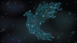 Abstract  Polygonal wireframe Low poly mesh origami paper bird  ,consisting of points lines, shapes,dots, stars.On blue night sky dark background,