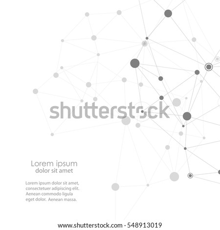 Abstract polygonal with connecting dots and lines. Connection science background.