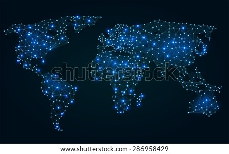 Blue line polygon global maps vector download free vector art abstract polygonal world map with hot points network connections gumiabroncs Gallery