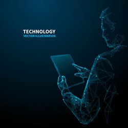 Abstract polygonal young man holds a pc tablet in his hand and touches on it. Low poly wireframe digital technology innovation vector illustration on dark blue background. Space style. Polygon art.