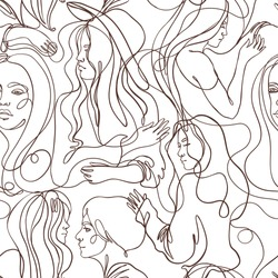 Abstract portrait of young pretty woman. Seamless pattern.   Continuous one line drawing isolated on white. Vector illustration in simple modern style.  Wallpaper, textile or wrapping paper.